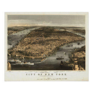 1856年のニューヨークシティNYの鳥目眺めのパノラマ式の地図 ポスター