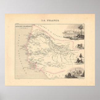 1858地図- Senegambie (セネガル) -フランス ポスター