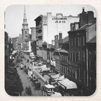 1859年:  ワシントン州の通りの交通そして店 スクエアペーパーコースター
