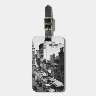 1859年:  ワシントン州の通りの交通そして店 ラゲッジタグ