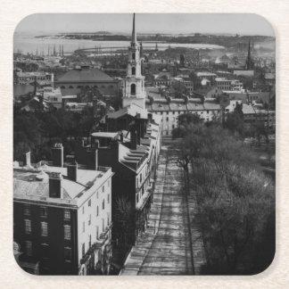 1859年:  州の家からのボストンの眺め スクエアペーパーコースター