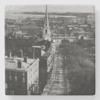 1859年:  州の家からのボストンの眺め ストーンコースター