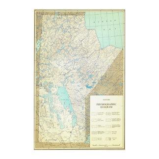 1860年にマニトバカナダの地文的な地図 キャンバスプリント