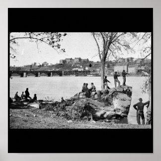 1861年にポトマック川を守っている連合兵士 ポスター