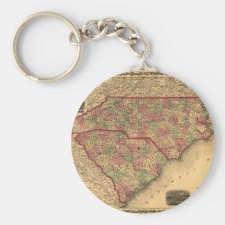 1861年のノースカロライナおよびサウスカロライナの地図 キーホルダー