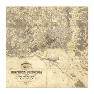 (1861年)コロンビア特別区の地形図 キャンバスプリント