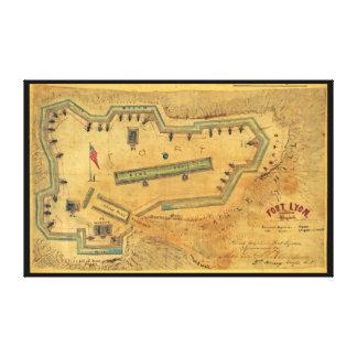 1862内戦の地図の城砦ライオンアレキサンドリアヴァージニア キャンバスプリント