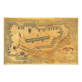 1862内戦の地図の城砦ライオンアレキサンドリアヴァージニア フォトプリント