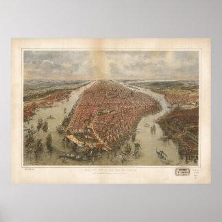 1865年のニューヨークシティNYの鳥目眺めのパノラマ式の地図 ポスター