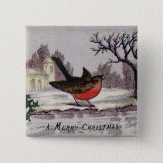 1865年頃: 昔ながらのなクリスマスのロビン 5.1CM 正方形バッジ