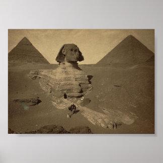 1867年頃エジプトのスフィンクスそしてピラミッド ポスター