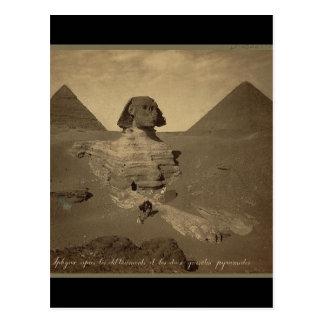 1867年頃エジプトのスフィンクスそしてピラミッド ポストカード