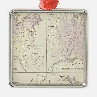 1870の米国の人口調査の地図 メタルオーナメント