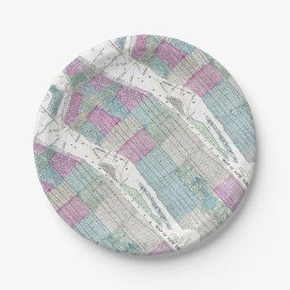 1870地図ニューヨークシティセントラル・パーク ペーパープレート