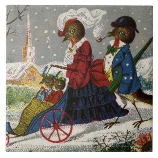 1870年頃: ロビン家族は散歩を取ります タイル
