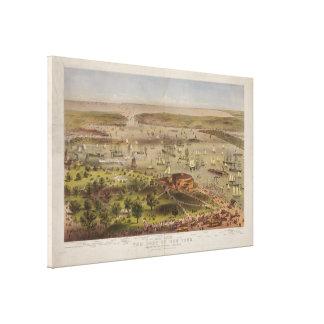1872年にニューヨークの鳥瞰的な眺めの港 キャンバスプリント