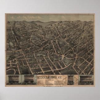 1874年Middletown、NYの鳥目眺めのパノラマ式の地図の ポスター