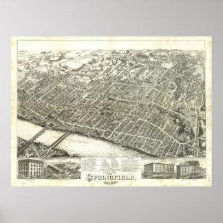 1875年スプリングフィールド、MAの鳥目眺めのパノラマ式の地図の ポスター