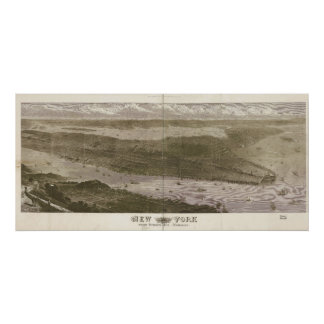 1876年のニューヨークシティNYの鳥目眺めのパノラマ式の地図 ポスター