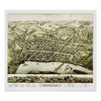 1877年からのMiddletownコネチカットの地図 ポスター