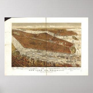 1877年のニューヨーク及びブルックリンの鳥の目のパノラマ式の地図 ポスター
