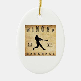 1877年のWinonaミネソタの野球 セラミックオーナメント