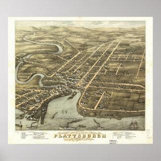 1877年Plattsburgh、NYの鳥目眺めのパノラマ式の地図の ポスター