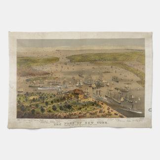 1878年にIves著ニューヨークの港 キッチンタオル