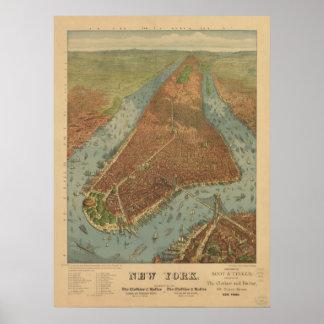 1879年のニューヨークシティNYの鳥目眺めのパノラマ式の地図 ポスター