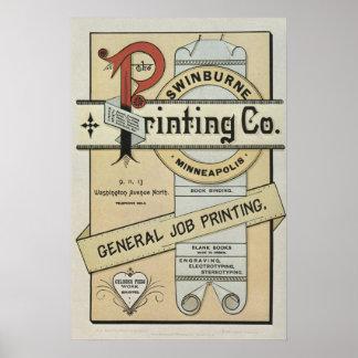 1880年代の凸版印刷の印刷広告ポスター ポスター