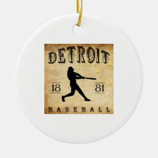 1881年のデトロイトミシガン州野球 セラミックオーナメント