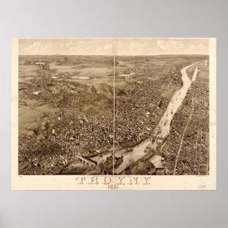 1881年イリオス、NYの鳥目眺めのパノラマ式の地図の ポスター