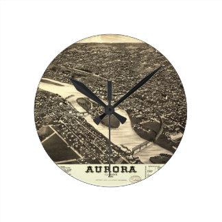 1882オーロライリノイの鳥瞰的な眺めの地図 ラウンド壁時計