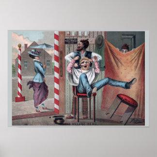 1882年のヴィンテージの理髪店のユーモア: 村の洒落男 ポスター