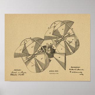 1882年の航空機の飛行機のパテントの芸術のスケッチ ポスター