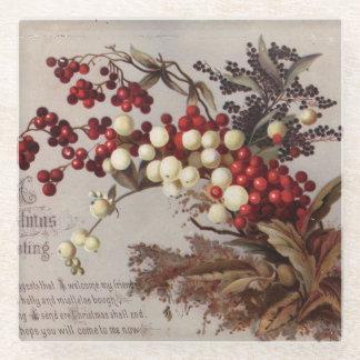 1882年: 伝統的なヒイラギの果実 ガラスコースター