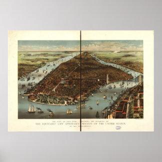 1883年のニューヨークシティNYの鳥目眺めのパノラマ式の地図 ポスター