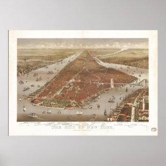 1884年のニューヨークシティNYの鳥目眺めのパノラマ式の地図 ポスター
