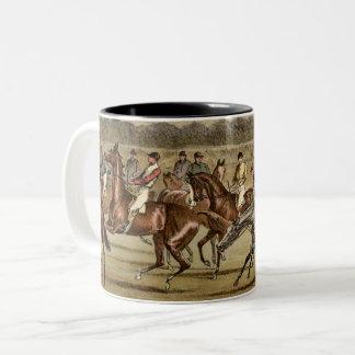 1886年の障害物競争の競馬の芸術 ツートーンマグカップ