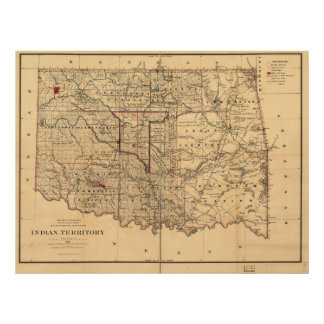 1887人のインディアンの領域の地図のオクラホマの領域 ポスター