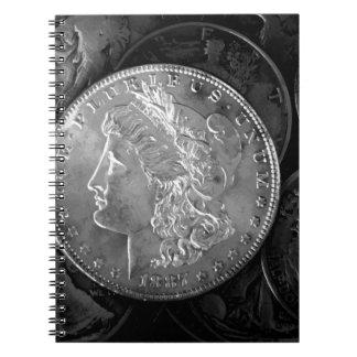 1887年の自由の1ドル銀貨 ノートブック