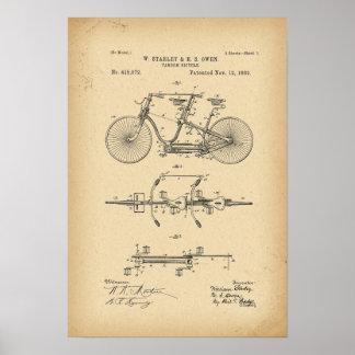 1889のパテントのタンデムの自転車 ポスター
