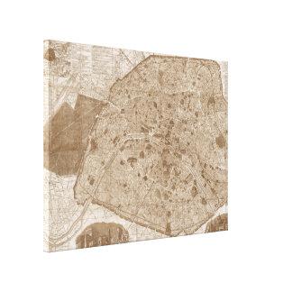 1889アンティークのパリの地図|のセピア色 キャンバスプリント