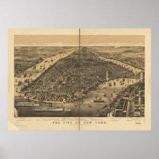 1889年のニューヨークシティNYの鳥目眺めのパノラマ式の地図 ポスター