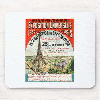 1889年のパリの万国博覧会のエッフェル塔のヴィンテージポスター マウスパッド