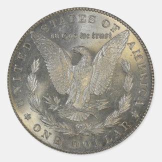 1889年のモーガンの1ドル銀貨の尾 ラウンドシール