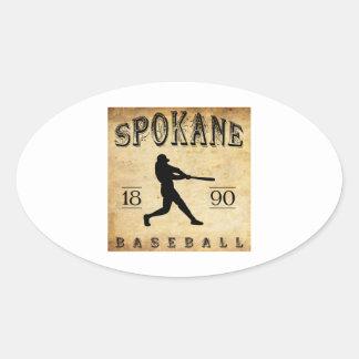 1890年のスポケーンワシントン州の野球 楕円形シール