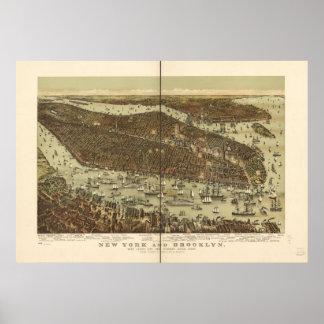 1892年のニューヨーク及びブルックリンの鳥の目のパノラマ式の地図 ポスター