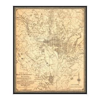 (1892年)コロンビア特別区の地図 キャンバスプリント