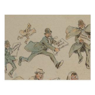 1894年からの擬似ニュースの郵便はがきのイラストレーション ポストカード